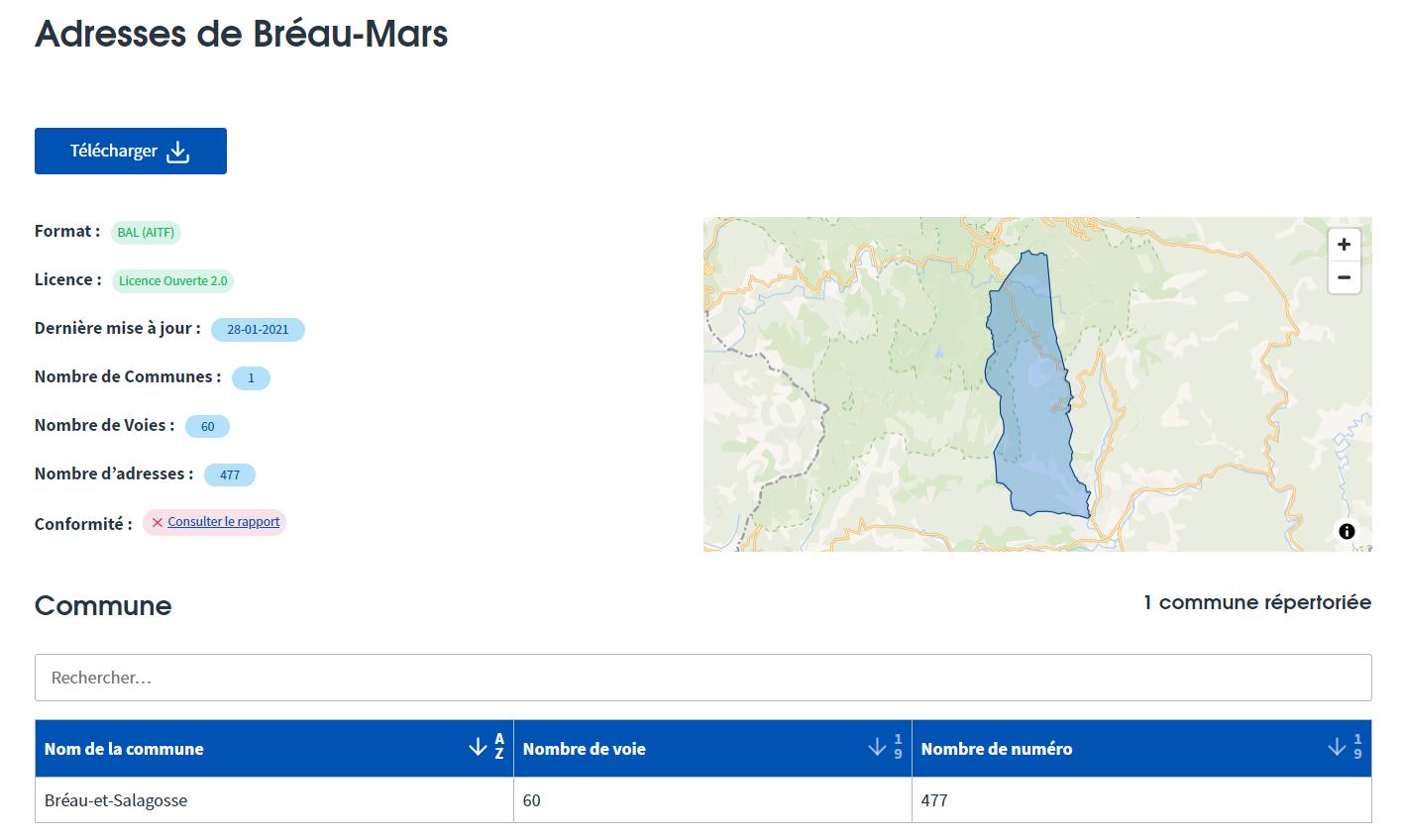Adresses de Bréau-Mars